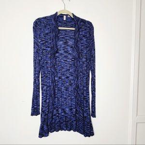 MADISON long sleeve cardigan with ruffles. Blue